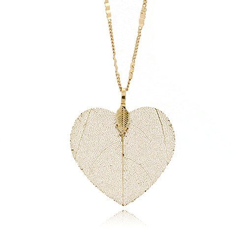 C&L Accessories Women's Real Natural Leaf Pendant Necklace Heart Leaf Tree Necklace (Gold Heart)