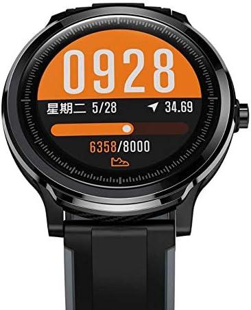 QiaoY Montre connectée étanche IP68 pour suivi de fitness, sport avec écran tactile de fréquence cardiaque, pression artérielle (couleur : gris)