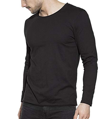 (Bread and Boxers Relaxed Fit Organic Cotton Long Sleeve T-Shirt (113) L/Black)