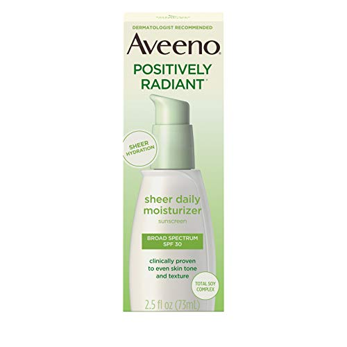 Aveeno Positively Radiant Sheer Daily Moisturizing Lotion for Dry Skin with Total Soy Complex and SPF 30 Sunscreen, Oil-Free and Non-Comedogenic, 2.5 fl. oz