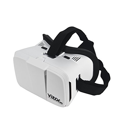 Tech RC Vizor Eye Glasses Available 3d Vr Virtual Reality Headset Box for 3D Movies and Games Compatible with Smartphones iPhone 7/6s/5s/SE Samsung Galaxy S5/S6/S7 Edge - WHITE