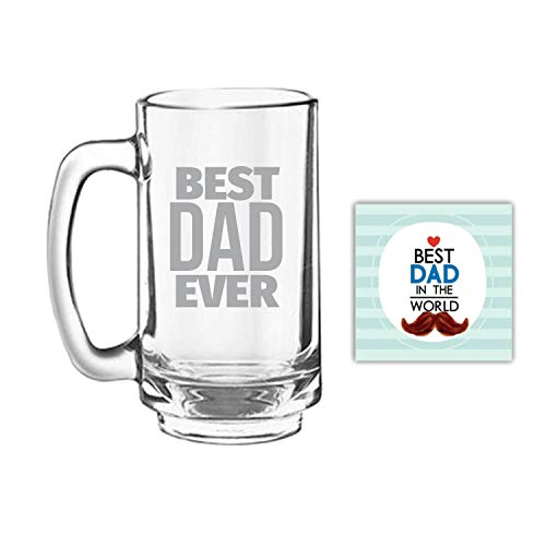 Giftsmate Father's Day Gifts Best Dad Ever Beer Mug Playboy 357 ml, Engraved, Coaster Gift Combo of 2 ()
