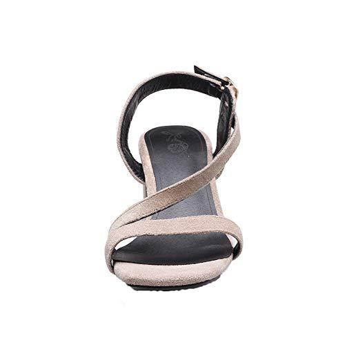 GMBLB013590 Talon d'orteil Ouverture Correct Femme Boucle Kaki AgooLar Cuir PU à Sandales qvxBanwwH