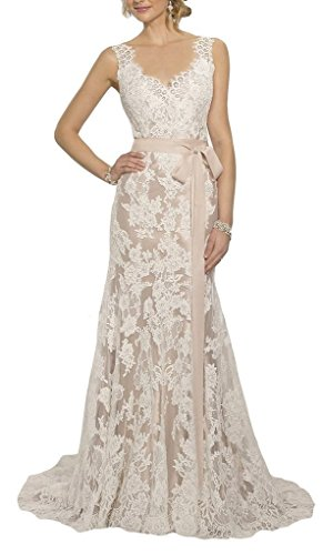 Fanmu Women's Vintage Lace Wedding Dresses Bridal Gown Champagne US 10 (Champagne Lace Bridal Shop)