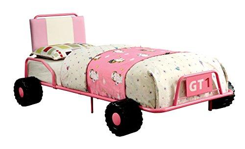 Furniture of America Muebles de América Ramirez Individual Metal Coche De Carreras Cama en Color Rosa
