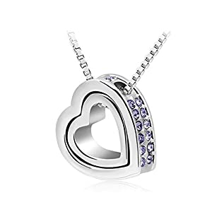 Baqijian Rhinestone Double Heart Pendant Sweater Chain Necklace Charm Women Jewelry Purple