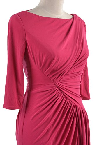 MACloth Women Half Sleeve Boat Neck Jersey Long Evening Gown Celebrity Dress Verde Oscuro