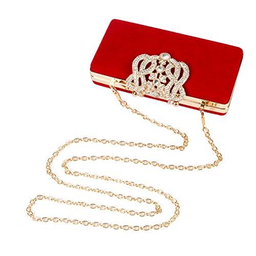 Borsetta con Tracolla da Donna Pochette con Diamante Elegante Borsetta da Sera Portafoglio Lungo, Rosso