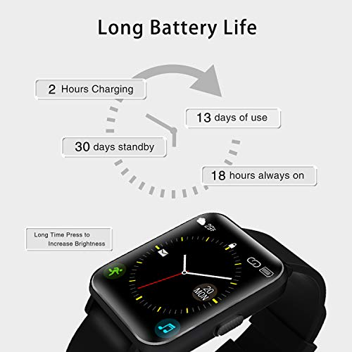 Kalakate Smart Watch for Men Women, IP68 Waterproof Fitness Tracker for Android iOS Phones, Smartwatch with 1.54″ Touch Screen, Pedometer, Heart Rate, Sleep Monitoring, Weather Forecast (Black)