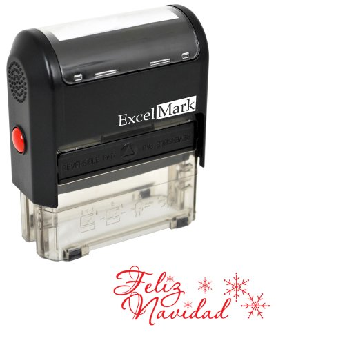 Self-Inking Christmas Rubber Stamp - Feliz Navidad - Red Ink