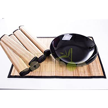Bamboo Placemats Set of 6 - Everyday Use in Kitchen, Dining - Easy to Clean, Eco-Friendly With Black Border