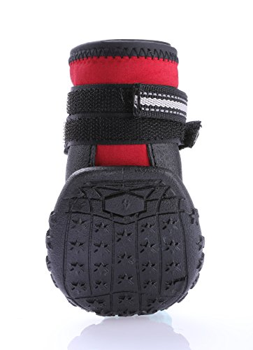 """Dog Shoes, Waterproof Dog Rain Boots Non Slip Snow Shoes Protectors for Small Medium Large Dogs Paws Keep Warm in Winter - Red 4(2.44""""x2.04"""" )"""
