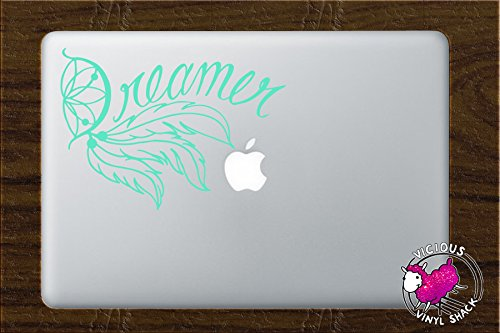 Dreamer Dream Catcher Word Quote and Feathers (MINT GREEN) Vinyl Decal Stickers for MacBook Laptop Car Love Forever Birds Always Relationships Feathers Peace Tough Strength Strong Strength Hope Inspiration Dreamer Love Bird Flying Cursive Script