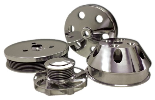 Compatible/Replacement for CHEVY SMALL BLOCK BILLET SHORT WATER PUMP SERPENTINE PULLEY SET - POLISHED