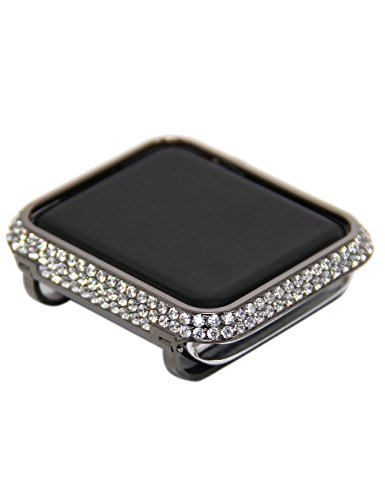 Callancity Crystal Diamond Bezel Black Platinum Exquisite Handcraft Encrusted Case Compatible with Apple Watch 38mm Series 1 2 3 Non Ceramic Edition