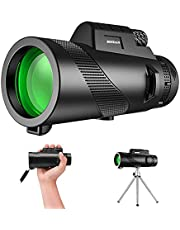 WINWIN Monocular Telescope,12x50 High Definition Monocular for Phone with Holder & Tripod,Waterproof Low Light Night Vision & BAK4 Telescope for Adults and Kids, for Camping,Hunting, Hiking,Birdwatching