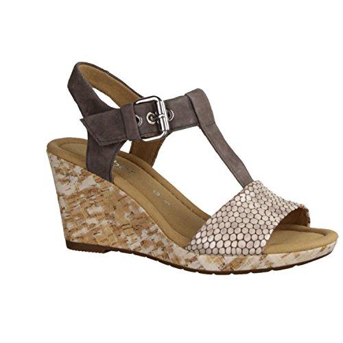 Gabor Womens Karen Mud T-Bar Wedge Heel Sandal 62.824.83 Mud pOaS5AB1r