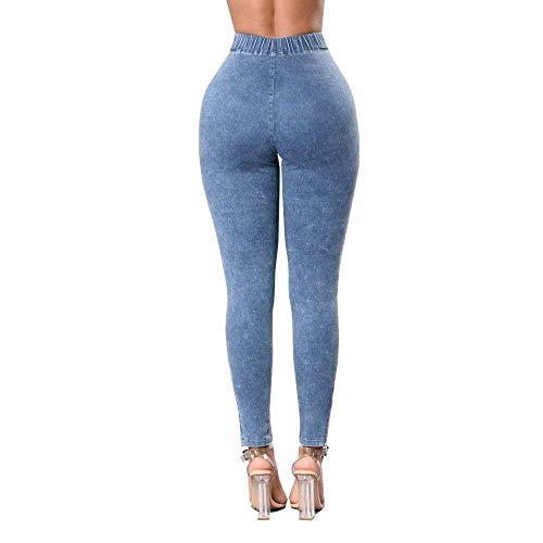 Pitillo Leggings Sólido Up 4 Color Push Bolsillos Jeggings S Ropa Colores Con 2xl Jeans Cintura Hellblau Alta Treggings Mujer Pantalones qv8w7tn