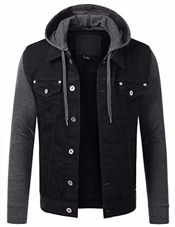 PRIME Mens Denim Jacket Mens Hoodies Jacket DJ-04: Amazon.co.uk ...