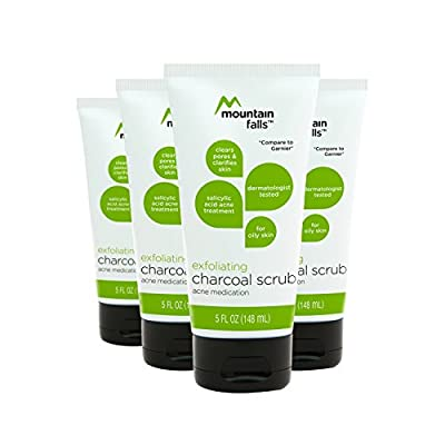 Mountain Falls Exfoliating Charcoal Scrub Salicylic Acid Acne Medication for Oily Skin, Compare to Garnier, 5 Fluid Ounce (Pack of 4)