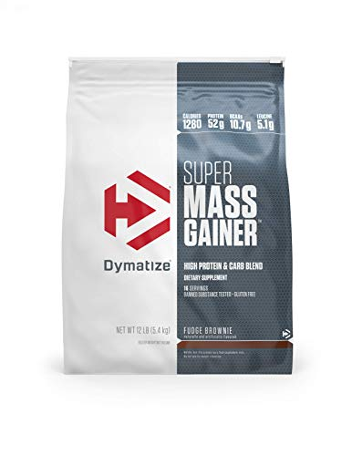 Dymatize Super Mass Gainer Protein Powder with 1280 Calories Per Serving, Gain Strength & Size Quickly, Fudge Brownie, 12 - Fudge Brownie Mass