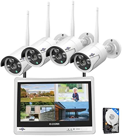 [8CH Expandable] Hiseeu All in one with 12″ LCD Monitor Wireless Security Camera System, Home Business 8CH 1080P NVR Kit 4pcs 2MP Outdoor Bullet IP Cameras Night Vision Waterproof,3TB Hard Drive