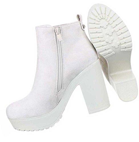 Damen Schuhe Stiefeletten Stretch Plateau Boots Creme
