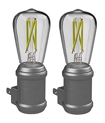 Westek LED Edison Filament Plug-in Vintage Night Light - Energy Efficient - Auto Dusk-Dawn Sensor - Warm Amber Glow, Ideal for Bedrooms, Bathrooms, Hallways and Stairs