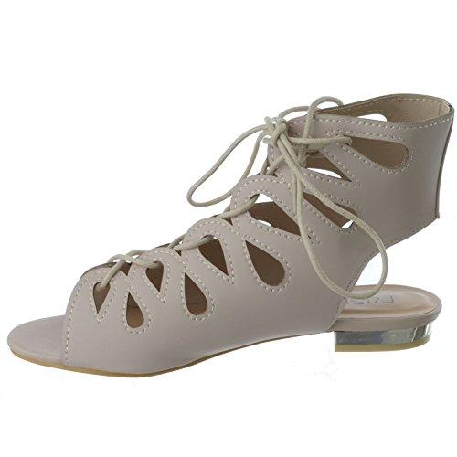 cuir talon CHAIR GLADIATEUR sandales plat faux BEIGE femmes Pointure Découpe bas lacet été Chaussures SxREnwqOpP