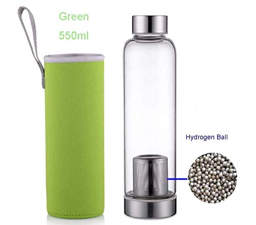 Multi Purpose Water Bottle use with or Without Removable Hydrogen Filter, Borosilicate Glass, Removable Neoprene Sleeve with Carry Handle | Food Grade | 18.5 oz (550ml)