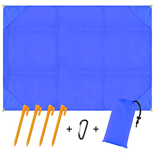 BROTOU Compact Beach Pocket Blanket for Outdoor Camping,Hiking,Travel,Festival, Sports Sand Proof Picnic Mat Quick Dry Ground Cover Tarp(Size 79x55) (Blue) (Blue)