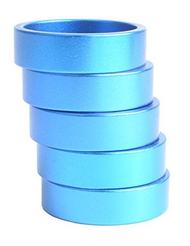10mm Bike Fork Washer Stem Spacers Aluminum Alloy Bicycle Headset Washer Raise Handlebar 5pcs (Blue)