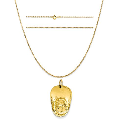 14k Yellow Gold 3-D Large Fireman's Hat Charm on a 14K Yellow Gold Carded Rope Chain Necklace, 20