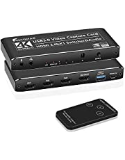Foscomax Video Capture Card, 3X1 Switcher 4K HDMI Capture Card 4K 30FPS 3 in 1 Out Game Capture Card USB 3.0 Video Converter for Multi-Channel Live Streaming/Game Video Recording/Screen Sharing