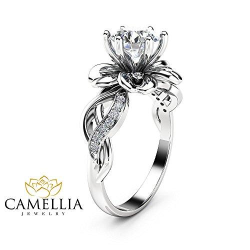 Moissanite Petal Engagement Ring 14K White Gold Petal Ring Unique Moissanite Ring