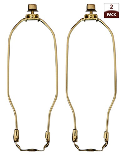 Royal Designs 9' Heavy Duty Lamp Harp, Finial and Lamp Harp Holder Set, 2-Pack Polished Brass, More Sizes Available (HA-1001-9BR-2)