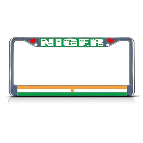 Niger Country Flag Metal Chrome License Plate Frame (Cowgirl Bling License Plate Frame compare prices)
