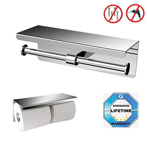 EINFAGOOD Toilet Paper Holder with Shelf, Toilet Paper Holder Adhesive Wall Mount, -