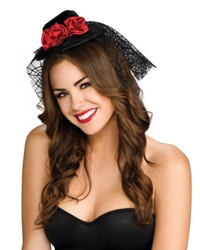Mini Gothic Black Hat With Red Rose (Black Gothic Vampire Mini Hat W Red Rose & Veil Adult)