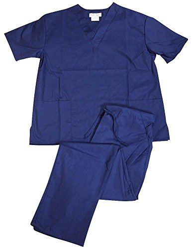 Natural Uniforms Women Scrub Set Medical Scrub Top and Pants, True Navy, Medium - Womens Navy Uniform