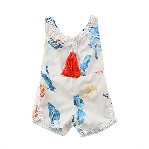 Newborn Baby Girls Ethnic Style Sleeveless Tassels Backless Floral Romper (12-18months, White)