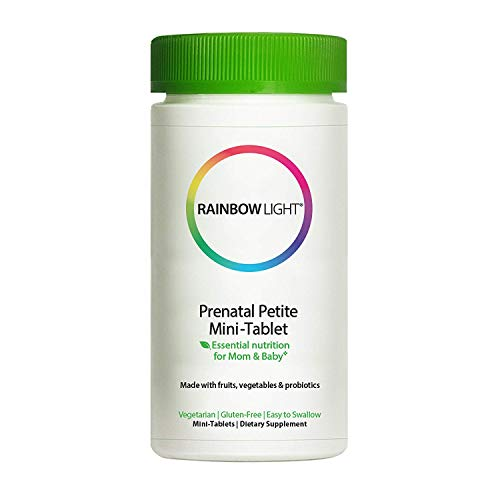 Rainbow Light Prenatal Petite Mini-Tab Multivitamin Plus Superfoods & Probiotics - Organic Daily Vitamin and Mineral Supplement for Mom & Baby, Folate, Iron, Gluten-Free, Vegetarian - 180 Mini-Tablets
