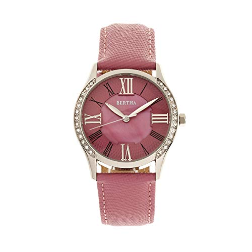Bertha Sadie Women's MOP Dial Pink Leather Band Watch BR8402