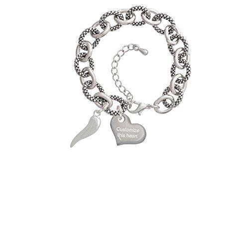 Good Luck Italian Horn Custom Engraved Heart Diana Charm Bracelet