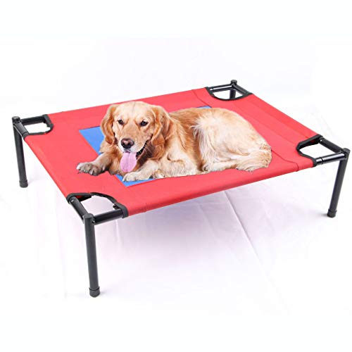 WLcute Pet Elevated Hammock,Moisture-Proof Full-Washing Anti-Stick Hair Breathable, Stable Bracket Structure Suitable for All Types of Dogs,L ()