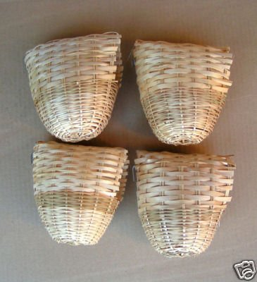 Finch Bird Bamboo Covered Bird Nest Lot of 4 -- Large ()