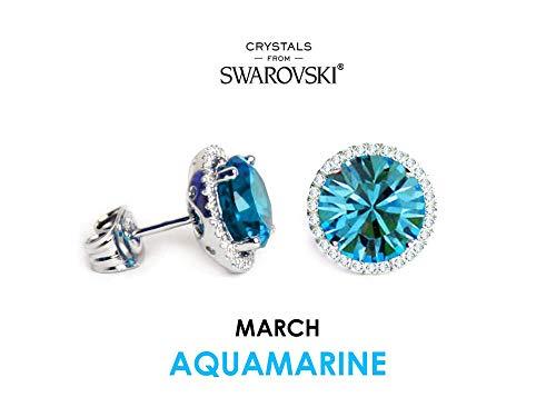 Glimmering Crystals Birthstone Studs, Aquamarine Stone, March Earring, Round Shape, 8mm, Blue, 18k White Gold, Hypoallergenic Gem, Nickel Free
