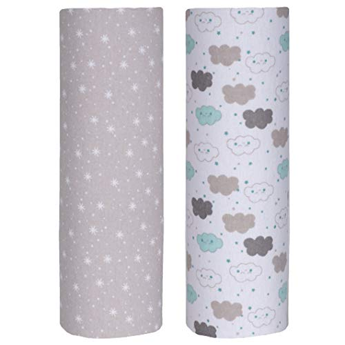 (Cuddles & Cribs Cotton Flannel Receiving Blankets (Clouds & Sparkles))