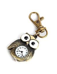 ALIENWOLF Montre de poche Antique Bronze Tiny Owl Pocket Quartz Key Chain Ring Watch Pendant