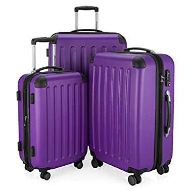 HAUPTSTADTKOFFER - Spree - Set of 3 Hard-side Luggages Glossy Suitcase Hardside Spinner Trolley Expandable (20¡°, 24¡° & 28¡°) TSA Purple